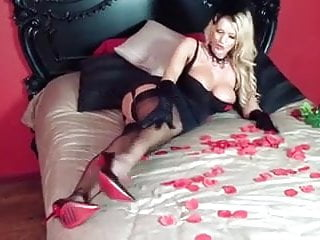 Lingerie corset cake - Horny girl in corset, heels and seamed black stockings