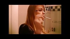 The oh so sexy young & beautiful smoker Mika blowing smoke!