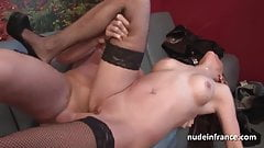 French milf hard double penetrated and fist fucked