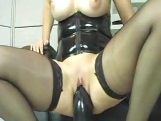 Giant dildo sex toys - Amateur slut riding giant dildo