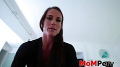 Cute MILF with big tits plowed and cum sprayed in POV