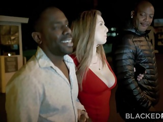 Double cocks Blackedraw big titty white girl gets double teamed by bbcs