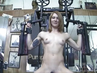 Sex in the gym videos Redhead charlotte rides fuck toy in the gym