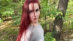 Redhead wife sucks cock in the forest and swallow. KleoModel