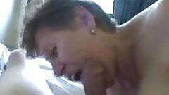 old Granny sucks cock and he cum in her mouth