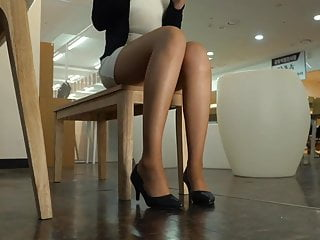 Pantyhose upskirts of news ladies Office lady legs in tan pantyhose and heels
