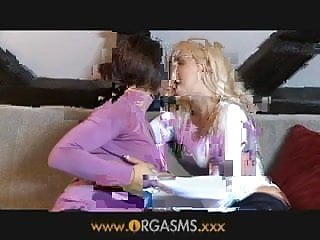 Blonde lesbian porn Orgasms lesbian woman enjoys younger blonde