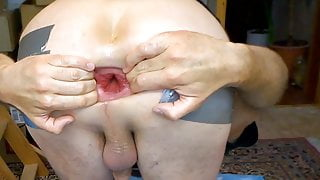 Spreading my asshole after dildo fuck