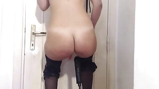 Blonde anal machine fuck in heels and on sex swing