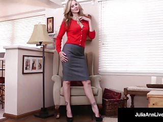 Famous people sex scenes World famous milf, julia ann in a sweater fucks herself