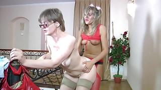 Young lesbian seduces mature woman