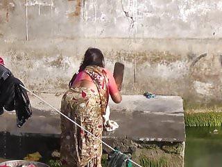Nude bath in river River bath
