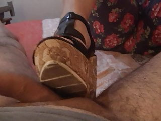 The wedge sex Shoejob with wood wedge heels on hotel