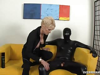 Handjob cum control The big titted granny keeps everything in control