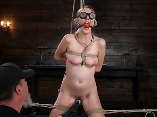 Nude rope bondage - Blonde sex slave cadence lux abused in rope bondage and squi