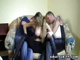 Busty eating cum - Busty german girlfriend sucks 2 cocks and eats cum