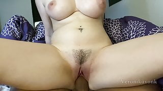 Busty babe with nice bush fucks a fat cock till risky cumshot