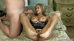 Cumming on hot milf's feet