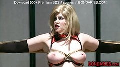 Slave bitch gets hot wax on her clit and deepthroated