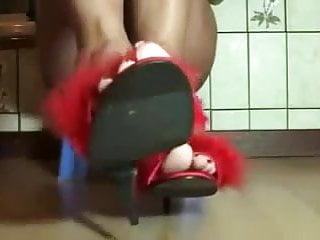 Adult grinch slippers - Mature women marabou high heel slippers