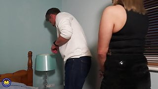 Naughty mature mother takes daddys cock
