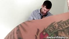 Muscle tattooed amateur swallows dick before mutual handjob