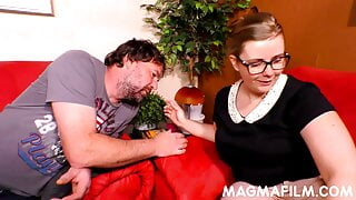 BBW woman with glasses sucking a hard prick