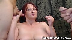 Redhead mature slut pounded at gangbang party