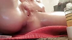 Teen squirting with oil