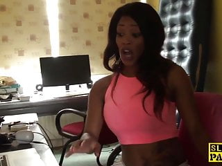Ebony spanked - Ebony brit submissive throatfucked by maledom