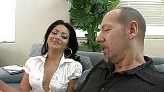 Hot Brunette College Schoolgirl Sucks an Old Big Cock