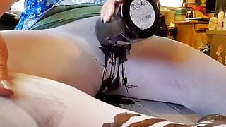 Wax on pantyhose pussy