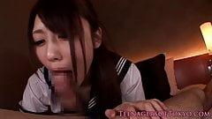 Cocksucking japanese schoolgirl facialized