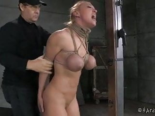 Nipple tit rope bondage Big tits blonde in rope bondage