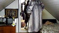 big silver fox coat and fluffy mules slipper