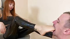 Cruel Young Mistress In Latex - Deep Foot Gagging Domination