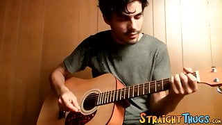 Handsome young man enjoys his guitar and jerkoff solo