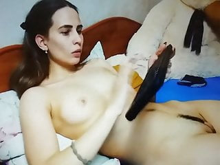 Alian landing strip - Teen playing with her sexy landing strip and tight pussy