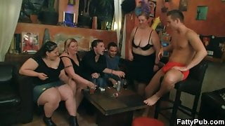 Fat girls strip and suck on cock