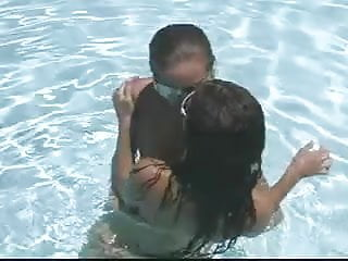 Teen lesbians in a pool - Two sexy lesbian bitches eating muff pie in the pool