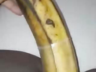 How to masturbate with a banana Ebony girl masturbates with a banana
