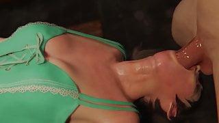 Tifa Lockhart Gives Sloppy Blowjob in Green Dress