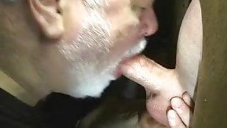 Beard step dad sucks cock