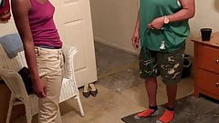 Ebony girl gets spanked with an extension cord