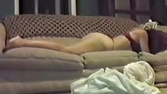 Wife & mom humping on the couch, hidden cam spy