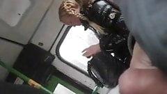 risky jerk and cum in bus