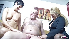 Old German Wife Suprise Husband with Saggy Tits Threesome
