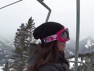 Snowboarding sex term Pretty brunette snowboarder enjoys giving a blowjob
