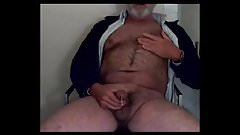 Hairy grandpa unloads his hairy uncut cock