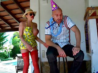 Crazy couple outdoor sex - Big tit bimbo crazy and wild outdoor birthday fuck